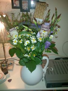 The lovely flowers sent by my sisters for me....